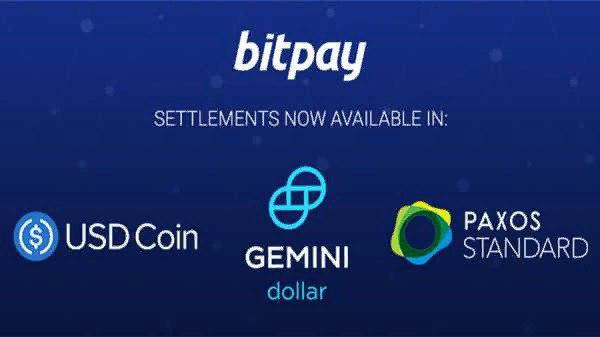 BitPay добавил поддержку стейблкоинов USDC, GUSD и PAX