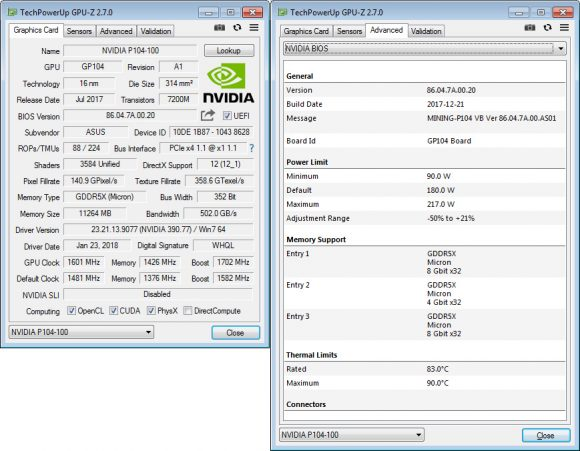 Характеристики ASUS Mining P104 4G GPU